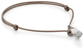 Tamara Comolli My Mikado 18K White Gold & Diamond Pave Acorn Sliding Knot Cord Bracelet