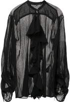 Isabel Benenato sheer ruffle blouse