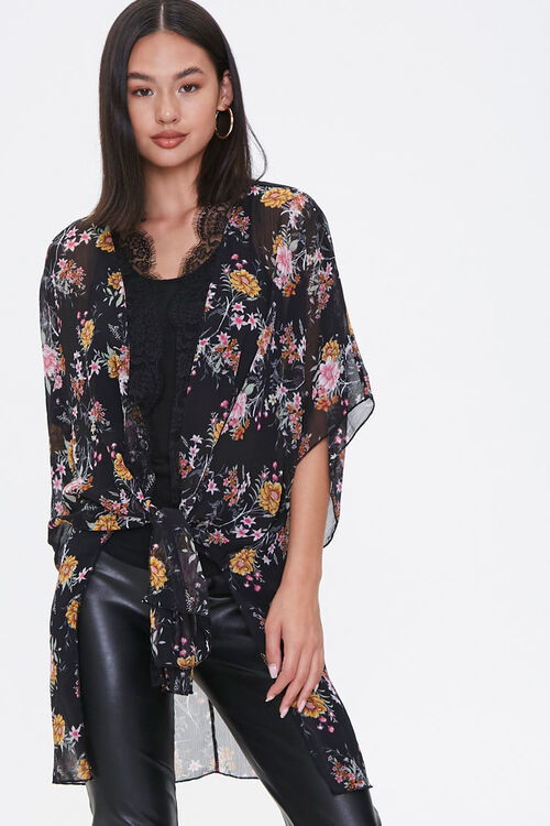 Forever 21 Floral Print Lace-Trim Kimono