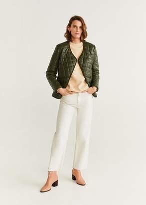 MANGO Leather quilted jacket khaki - XS - Women