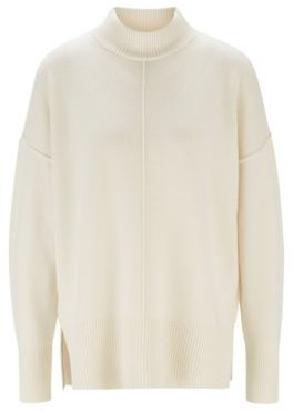 HUGO BOSS - Relaxed Fit Sweater In Pure Cashmere With Mock Neck - White