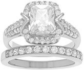 Journee Collection 3 1/10 CT. T.W. Rectangle-cut Cubic Zirconia Bridal-Style Basket Set Ring in Sterling Silver - Silver