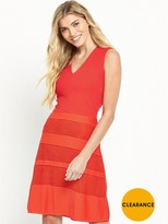 French Connection Pleat Lace Jersey Dress - Coral