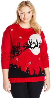 Blizzard Bay Women's Santa Sleigh Light-UP Ugly Christmas Sweater