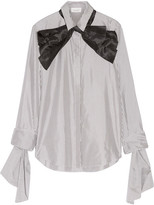 Isa Arfen Pussy-bow Striped Cotton And Silk-blend Shirt - Charcoal