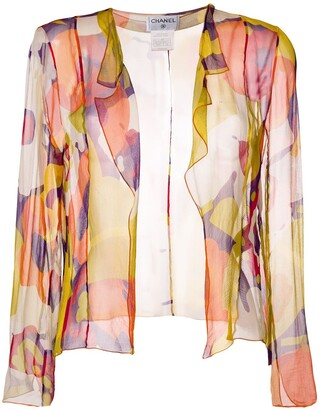 Chanel Pre-Owned abstract print sheer blouse