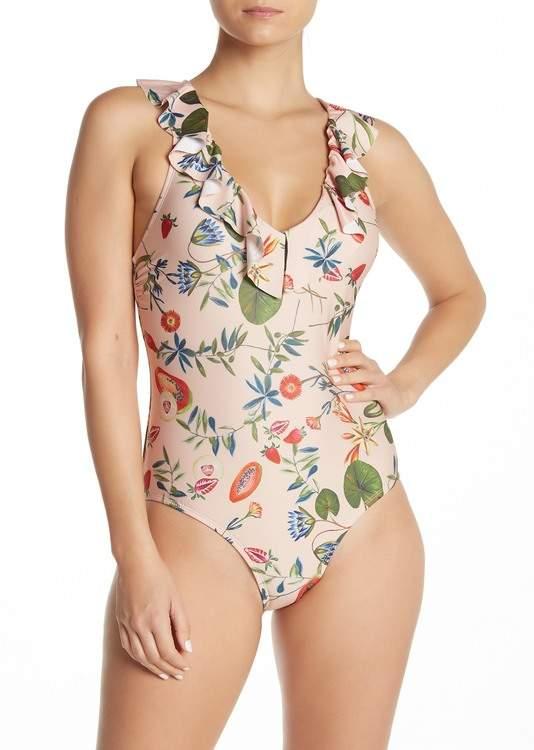 Free Press Dani Floral Fruit Print One-Piece Swimsuit