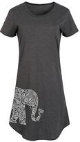 Instant Message Women's Women's Tee Shirt Dresses HEATHER - Heather Charcoal Elephant Holding Lotus Short-Sleeve Dress - Women & Plus