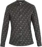 Etro Forest-print collarless cotton shirt