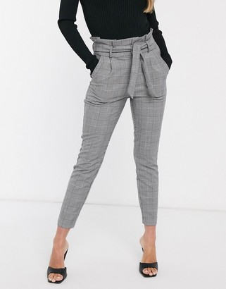 Vero Moda paperbag trousers in monochrome dogtooth
