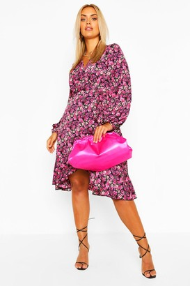 boohoo Plus Floral Crepe Ruffle Wrap Midi Skater Dress