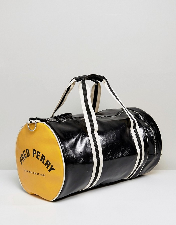 Fred Perry Barrel Bag Black/Yellow