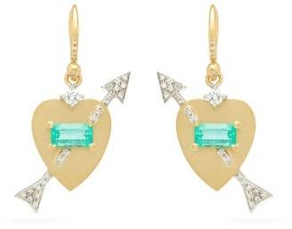 Irene Neuwirth Heart Emerald, Diamond & 18kt Gold Earrings - Yellow Gold