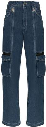 House of Holland mid-rise cargo pocket straight-leg jeans