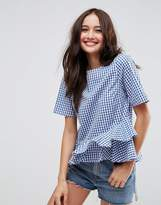 Asos Gingham Tee with Ruffle Hem
