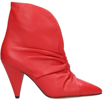 Isabel Marant Lasteen High Heels Ankle Boots In Red Leather