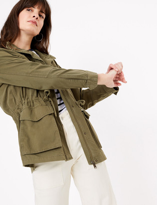 Marks and Spencer Cotton Rich High Neck Utility Jacket