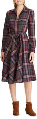 Chaps Petite Plaid Cotton Fit-and-Flare Dress