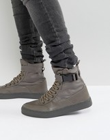 Asos High Top Sneaker Boots In Grey With Straps