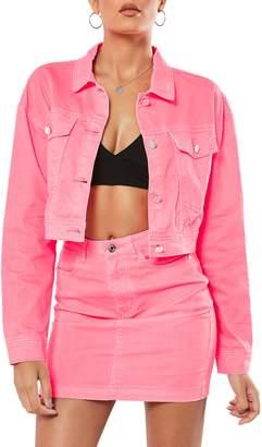 Missguided Neon Denim Crop Jacket
