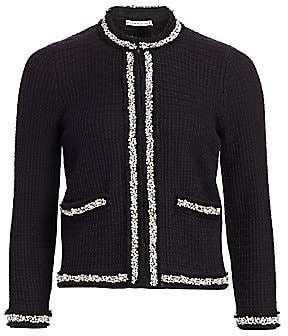 Alice + Olivia Women's Georgia Short Embellished Sweater Jacket