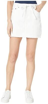 BB Dakota Denim Skirt with Tie Belt (Optic White) Women's Skirt