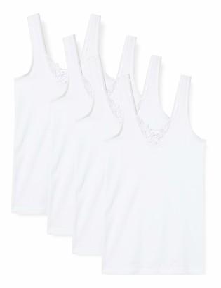Van Cleef & Arpels 4 Pack Womens Sleeveless Ladies Vest-Undershirt Underwear with lace 100% Cotton - Certified Oeko-Tex Standard (16/18