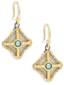 Armenta Old World Champagne Diamond, Blue Turquoise, Rainbow Moonstone & 18K Goldplated Sterling Silver Drop Earrings