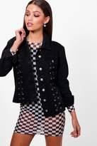 boohoo Shannon Corset Detail Slim Fit Denim Jacket