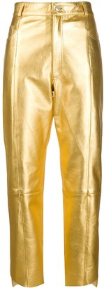 Manokhi Metallic Cropped Trousers