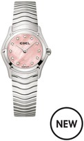 Ebel Classic Diamond Set Pink Mother Of Pearl Dial Screw Detail Stainless Steel Ladies Watch