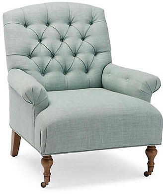 One Kings Lane Harrison Tufted Accent Chair - Mint Linen