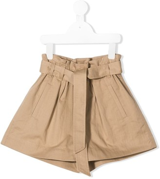BRUNELLO CUCINELLI KIDS Waist-Tied Paperbag Shorts