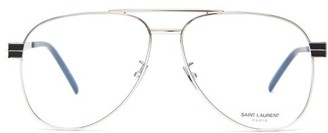 Saint Laurent Aviator Metal Glasses - Silver