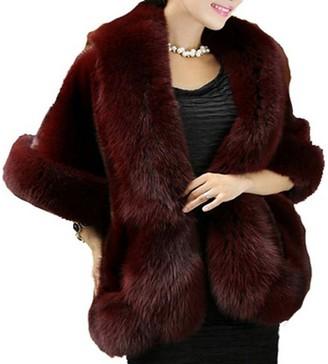 PLAER Women's Fashion Faux Mink Fur Shawl Cloak Cape Coat Knit Shawls Cloak (Burgundy)