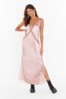 Nasty Gal Womens Watch This Lace Satin Maxi Dress - pink - 6, Pink