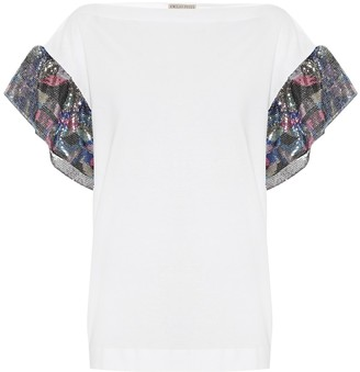Emilio Pucci Sequin-trimmed jersey top