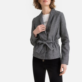 La Redoute Collections Linen Mix Single-Breasted Fitted Blazer with Tie-Waist