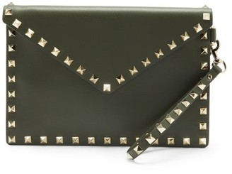 Valentino Rockstud Leather Pouch - Khaki