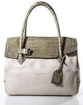 Reed Krakoff Beige Leather Crocodile Trim Large Satchel Handbag