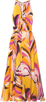 Emilio Pucci Fiore Maya Printed Silk-chiffon Halterneck Maxi Dress - Bright yellow