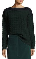 MiH Jeans Chunky Knit Colorblock Sweater, Navy/Green