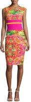 La Petite Robe di Chiara Boni Sumatra Cap-Sleeve Floral Sheath Dress, Multicolor