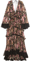 Roberto Cavalli Tiered Lace-trimmed Plissé-silk Gown - Black