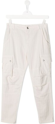 BRUNELLO CUCINELLI KIDS TEEN herringbone combat trousers