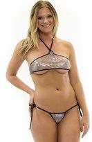 Lena Style Sheer Halter Metallic Micro Bikini Swimsuit Stripperwear G String
