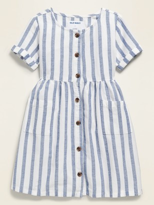 Old Navy Fit & Flare Button-Front Striped Dress for Toddler Girls
