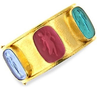 Elizabeth Locke Venetian Glass Intaglio 19K Yellow Gold 'Muse' Wide Bangle