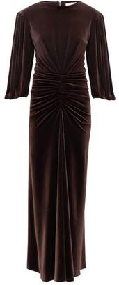 Alexandre Vauthier Ruched-waist Velvet Dress - Womens - Dark Brown