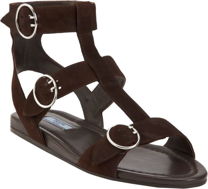 Prada Women's Triple Strap Gladiator Sandal-Brown